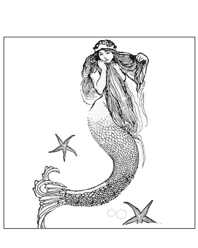 Mermaid clipart line drawing Clipart #33 Fans Mermaid clip