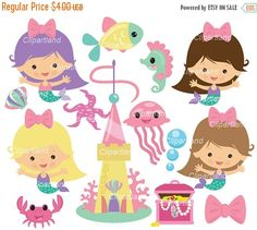 Mermaid clipart lovely Cm_68 and  commercial Set