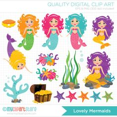 Mermaid clipart lovely Clipart Set / Clipart Bright