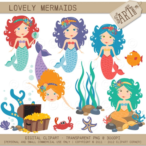 Mermaid clipart lovely Marketplace Design  Resources Resources