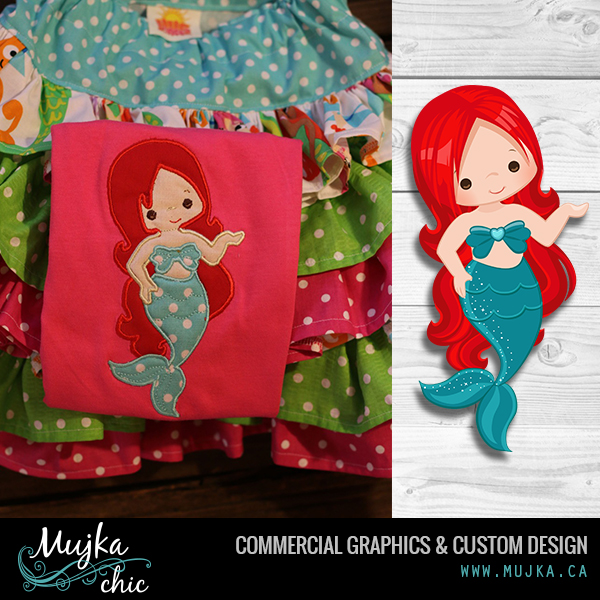 Mermaid clipart lovely SINGLE APPLIQUE EMBROIDERY CLIPART Dark
