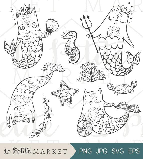 Cat clipart drawn Mermaid  Cat Mermaid Clipart