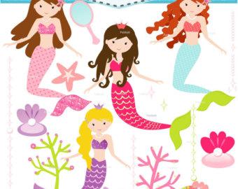 Mermaid clipart pink mermaid #4