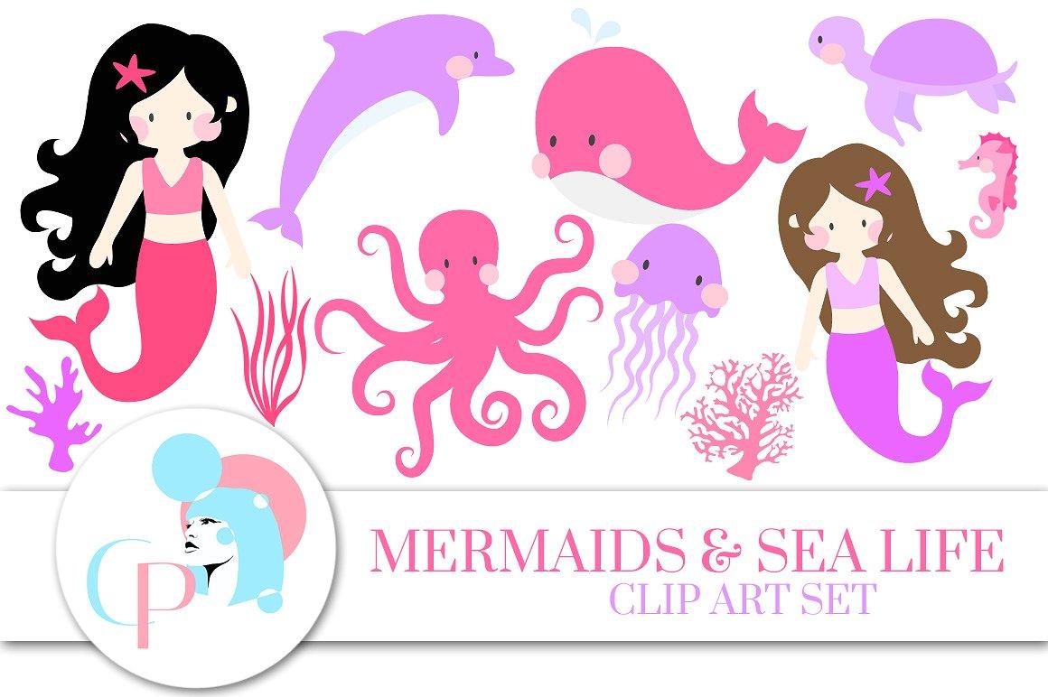 Mermaid clipart pink mermaid #12