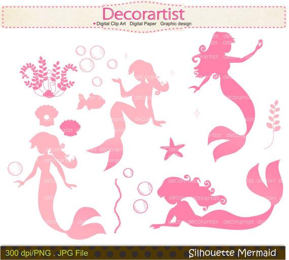 Mermaid clipart pink mermaid #3