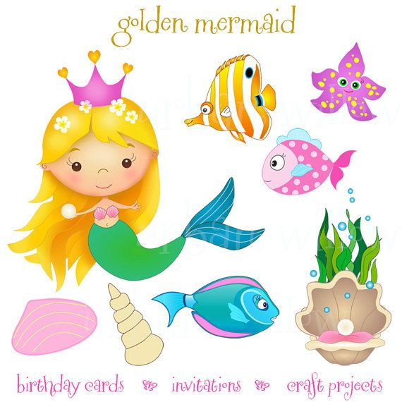 Mermaid clipart public domain Set and Png art MERMAID