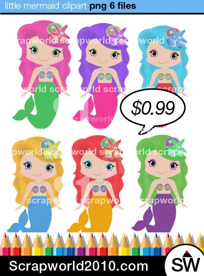 Mermaid clipart purple hair Multicolor little multicolor with 6