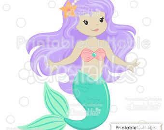 Mermaid clipart purple hair Limited Mermaid Cute Clipart E154