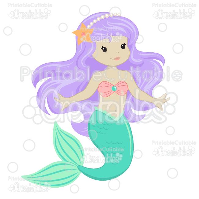Mermaid clipart purple hair Cute  & Clipart SVG