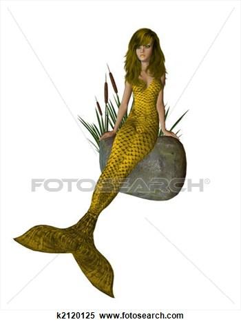 Realistic clipart mermaid #2