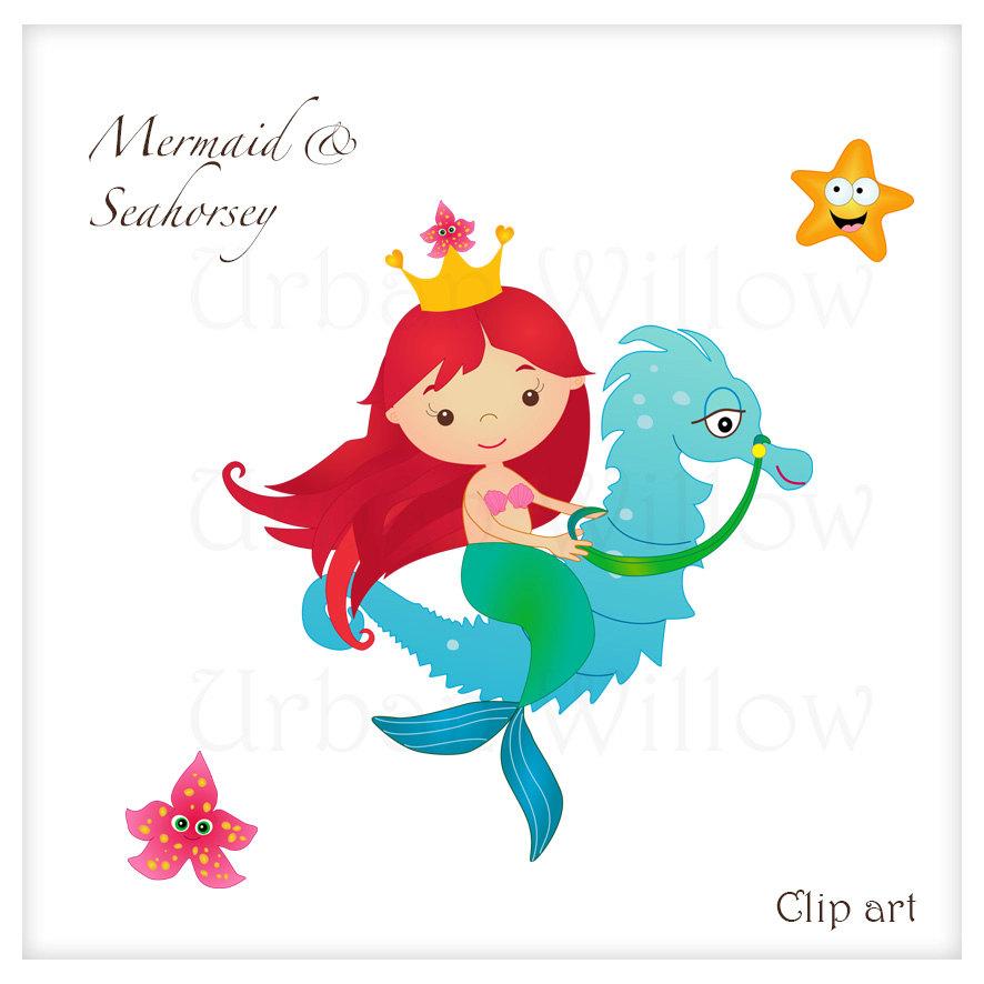 Mermaid clipart seahorse By a Seahorse Cute a