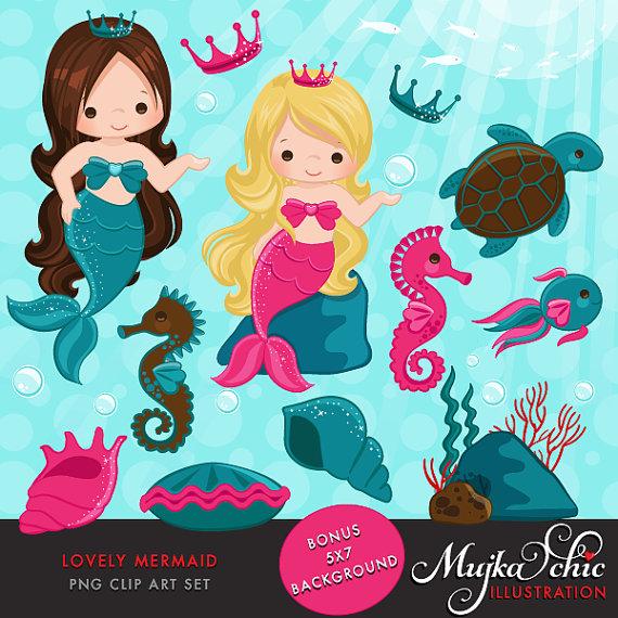 Mermaid clipart seahorse Sea mermaid & graphics applique