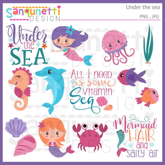 Mermaid clipart seahorse The crab clipart SanqunettiDesigns clipart