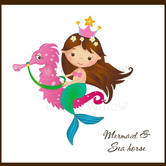 Mermaid clipart seahorse Art Mermaid a This Clipart