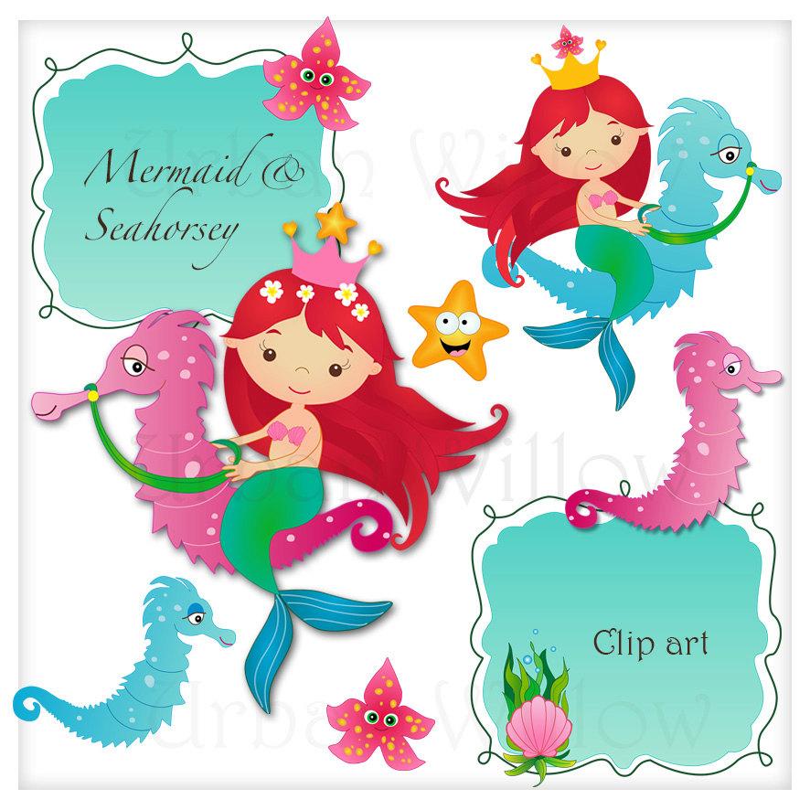 Mermaid clipart seahorse UnderSea Seahorse Clip a Red