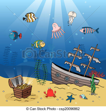 Seascape clipart sunken treasure #11