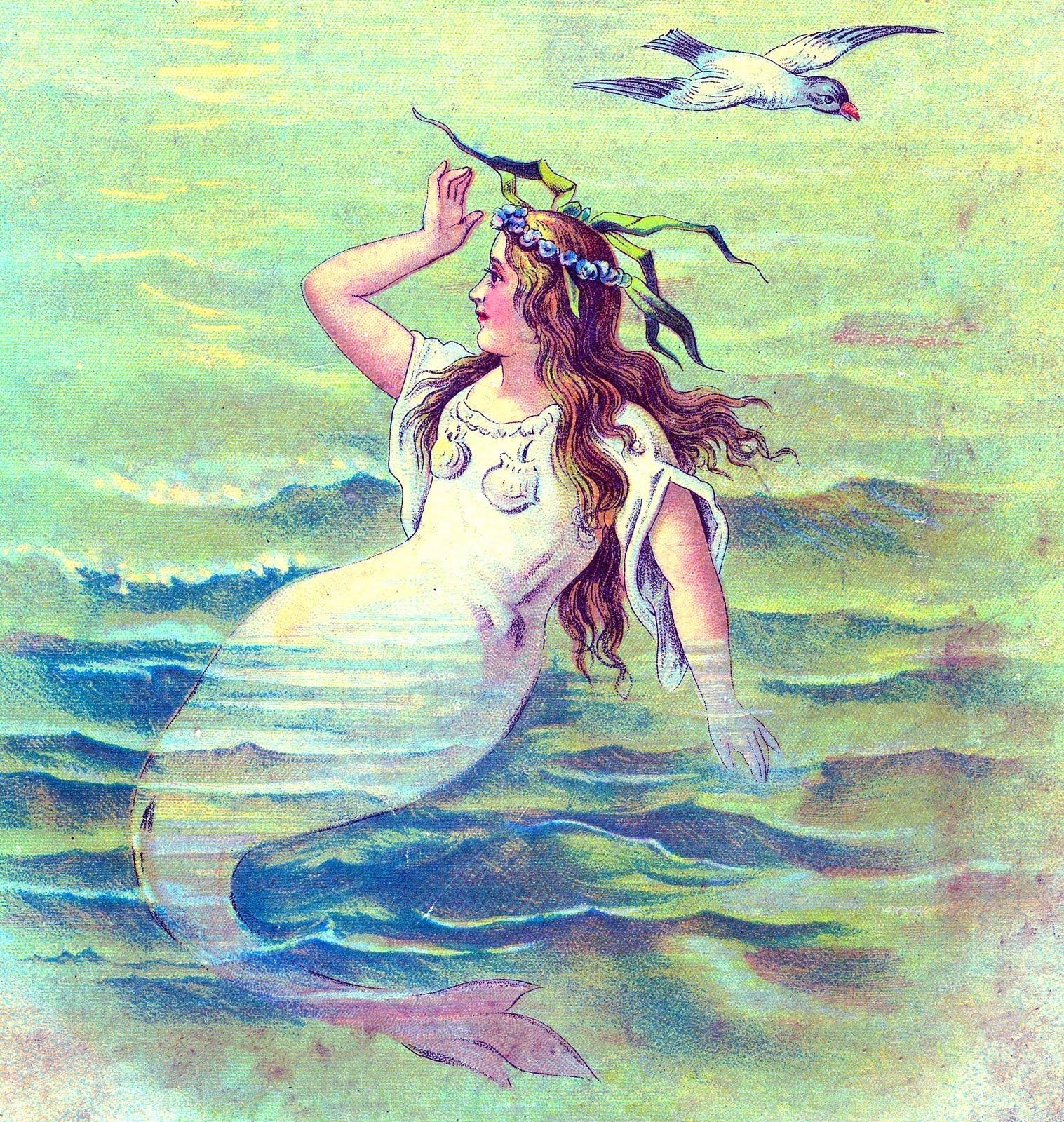 Retro clipart mermaid #15