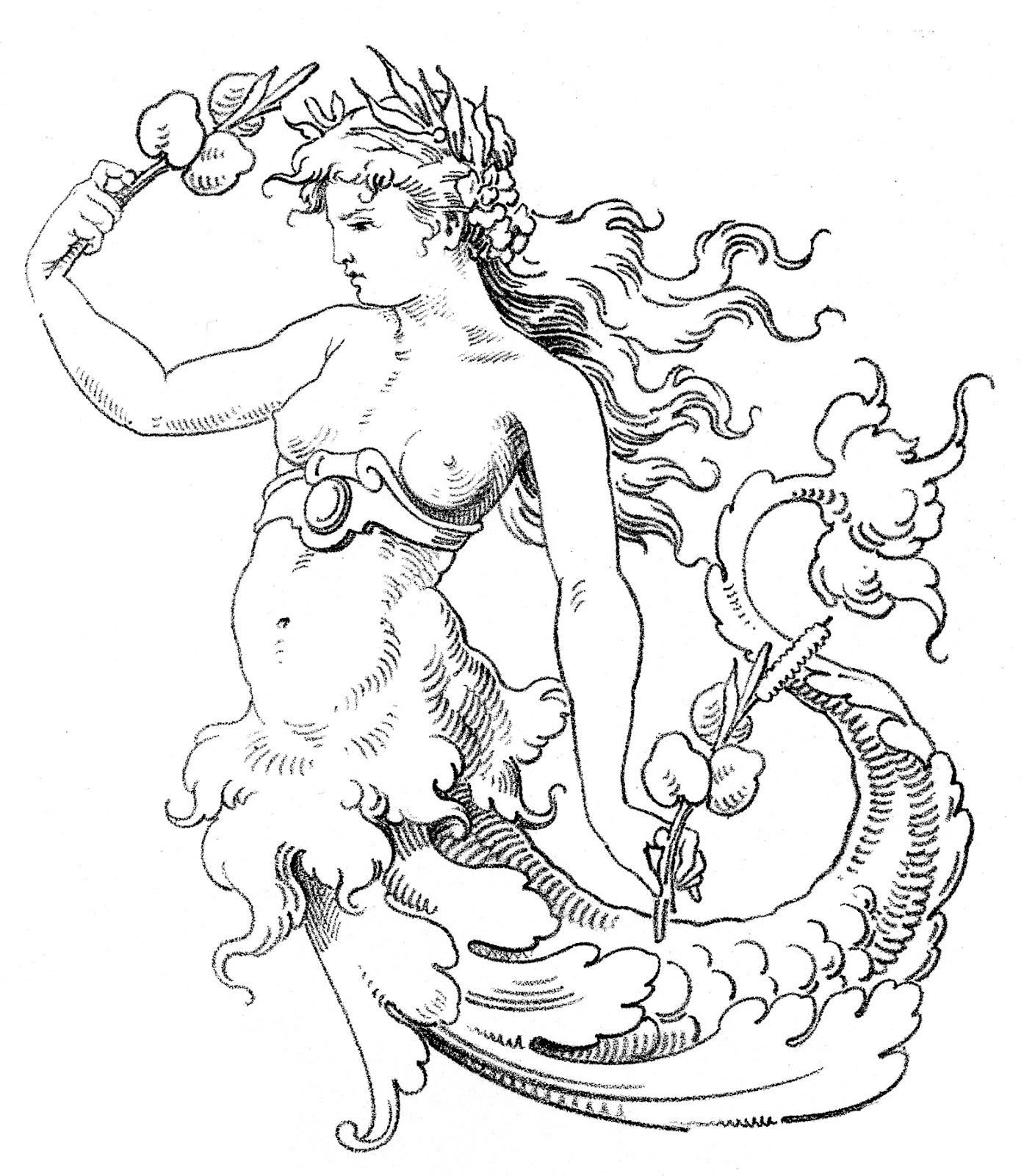 Retro clipart mermaid #2