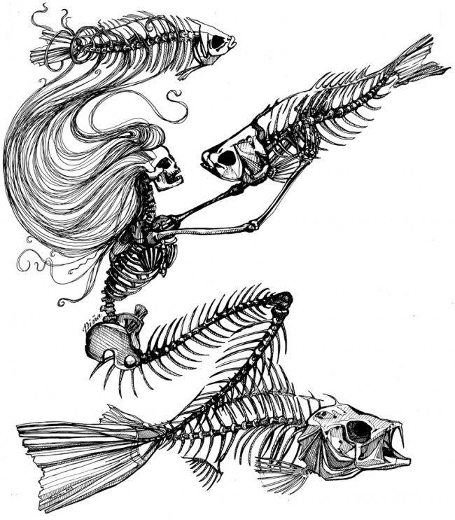 Drawn sleleton little On Love front plastered is