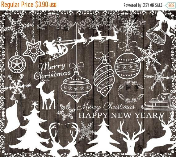 Merry Christmas clipart chalkboard Clipart year 40%SALE deer 40%SALE