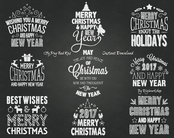 Merry Christmas clipart chalkboard Compliments decorations Chalkboard words Merry