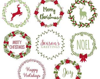 Wreath clipart vintage christmas wreath Wreaths Etsy Christmas OFF Digital