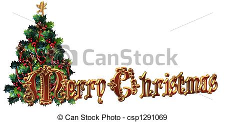 Merry Christmas clipart label Illustration tex csp1291069 Merry Stock
