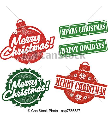 Merry Christmas clipart vector Merry Vector  Stamps Vintage