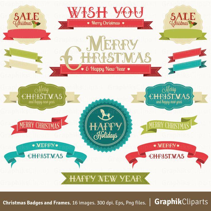 Merry Christmas clipart vector Best Badges Christmas 46 Frames