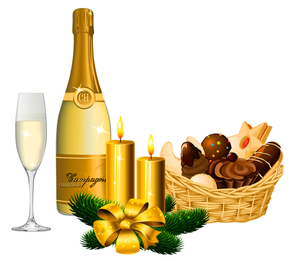 Merry Christmas clipart wine basket PNG and New Year Delicacies