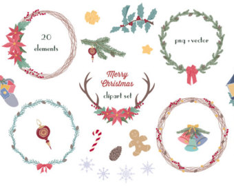 Poinsettia clipart christmas wreath Christmas Flowers Wreath  Clip