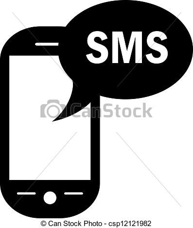 Telephone clipart sms Csp12121982 Search Vector sms white