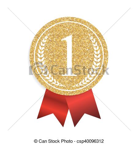 Metal clipart first place medal Vector Golden Art Vector Sign