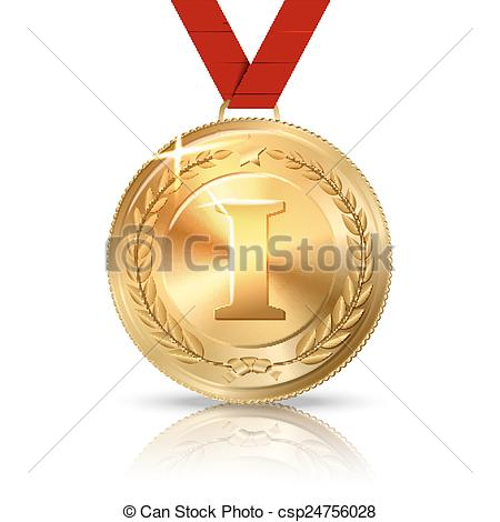 Metal clipart first place medal Vector Vector medal Vector place