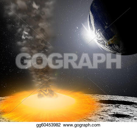 Meteor clipart impact Of on in illustration asteroid