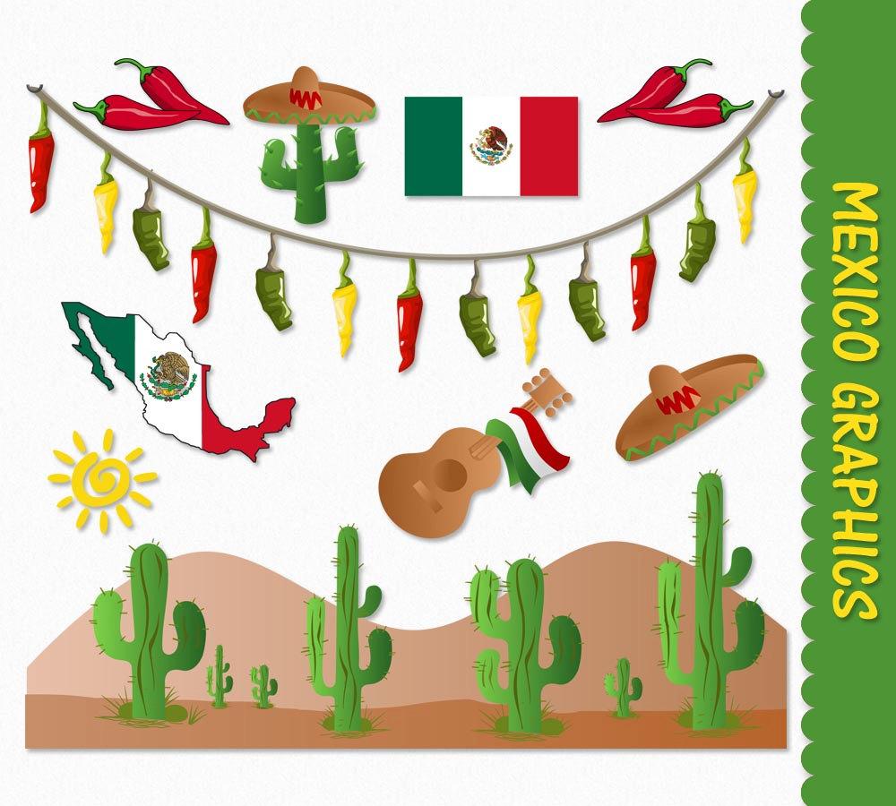 Figurine clipart mexican Sombrero Flag Cactus Scrapbook Etsy