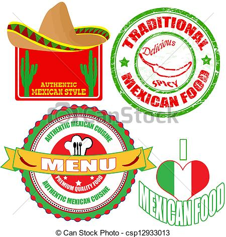 Mexican clipart Mexican Food Clipart Of Set of stamp of
