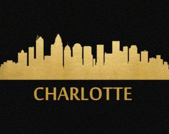 Miami clipart charlotte skyline Gold Foil Charlotte Skyline Etsy