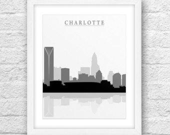 Miami clipart charlotte skyline Charlotte Etsy Charlotte Minimal Printable