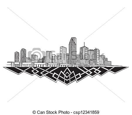 Of vector Miami Skyline Clipart