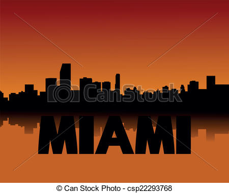 Miami clipart cityscape Skyline at of Vector sunset