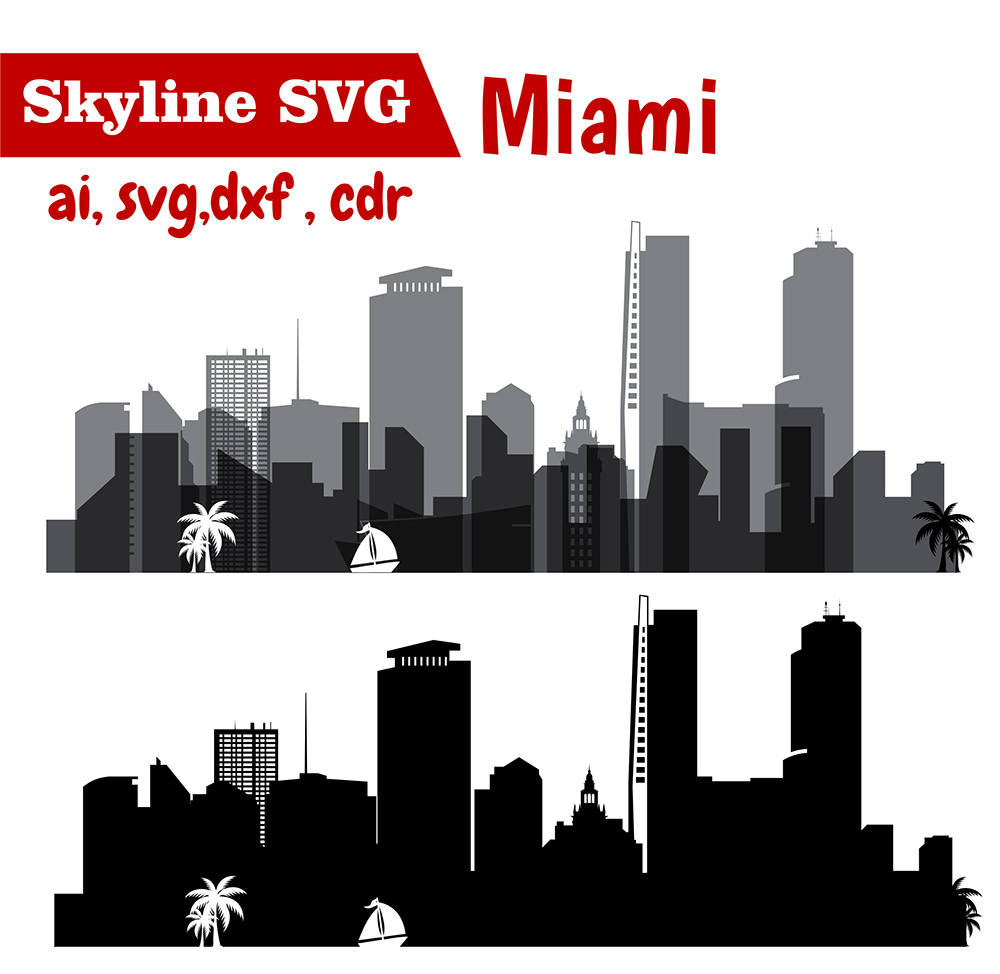Miami clipart dallas skyline Eps Miami Vector Skyline file