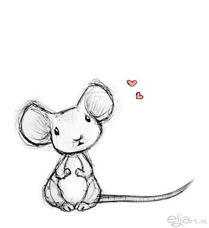 Drawn rodent pencil drawing Mouse illustration having sweet loved