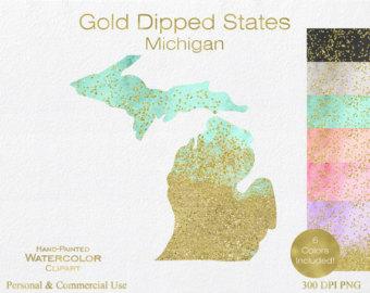 Michigan clipart Art States Clipart clip Etsy