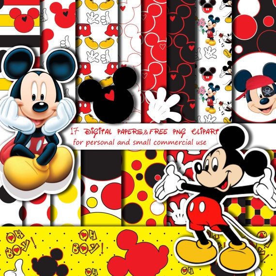 Mickey Mouse clipart digital Mouse images Red supplies Invitation