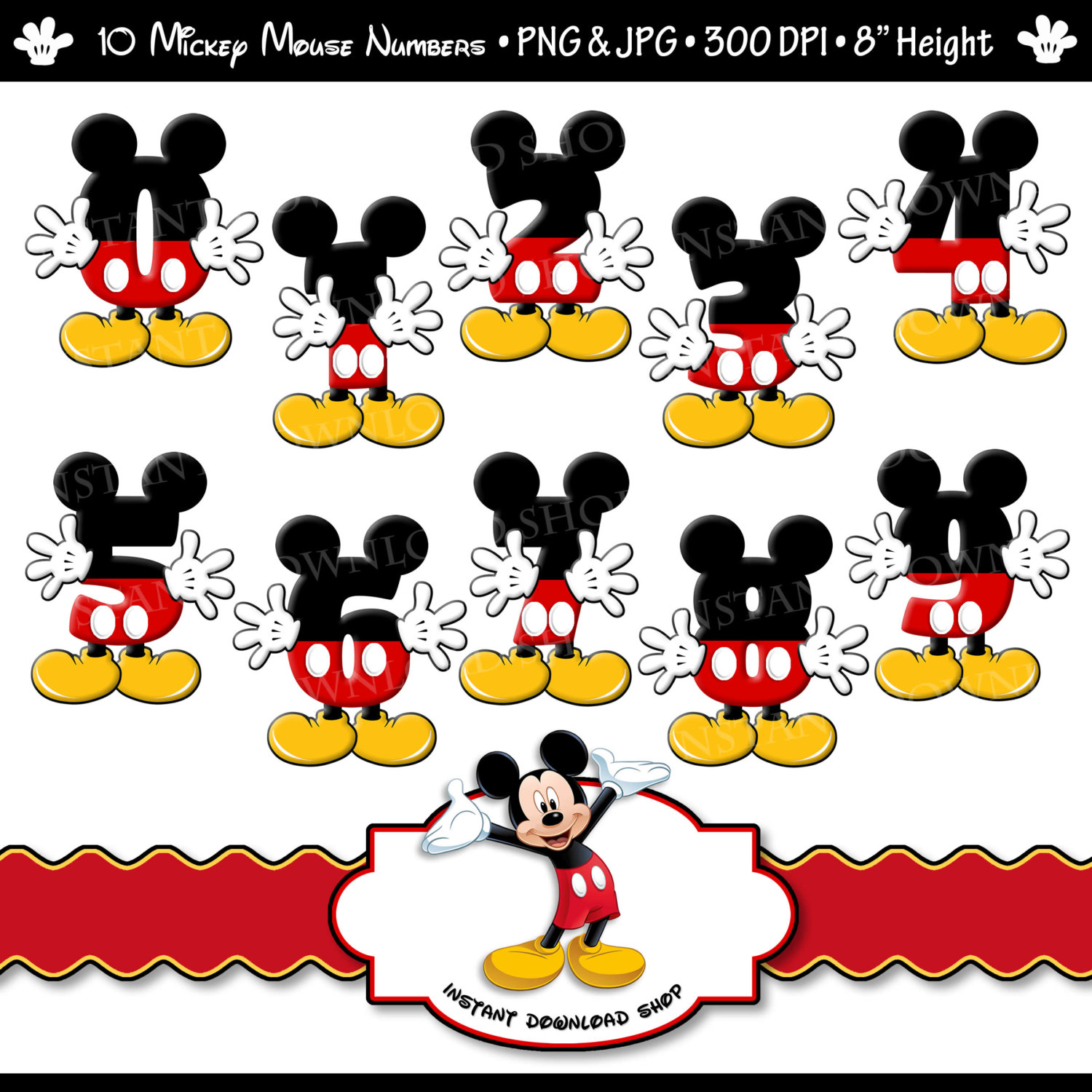 Mickey Mouse clipart digital Party INSTANT Mouse Digital DOWNLOWD