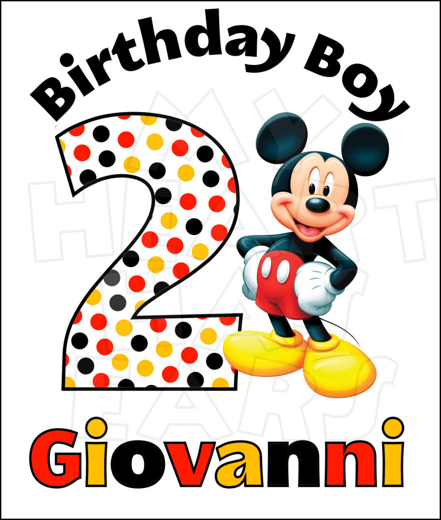 Mickey Mouse clipart digital Name Birthday Name PERSONALIZED art