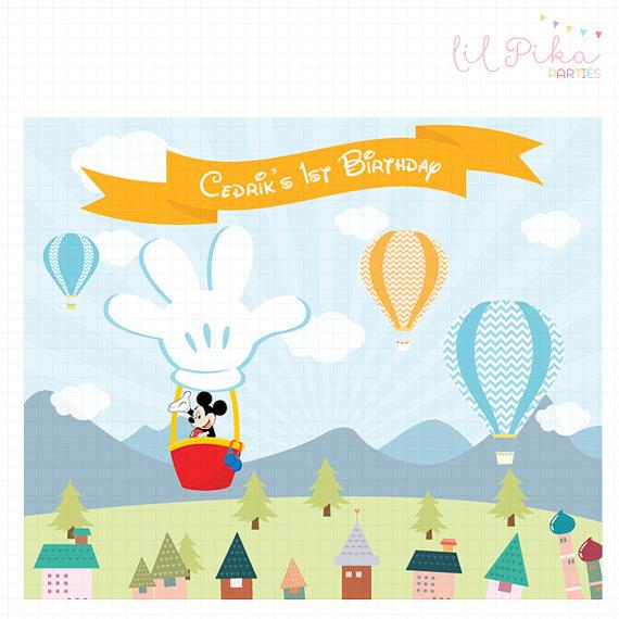 Mickey Mouse clipart hot air balloon #6