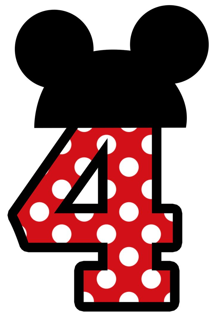 Mickey Mouse clipart number 4 Minnie numbers dressup e mickey