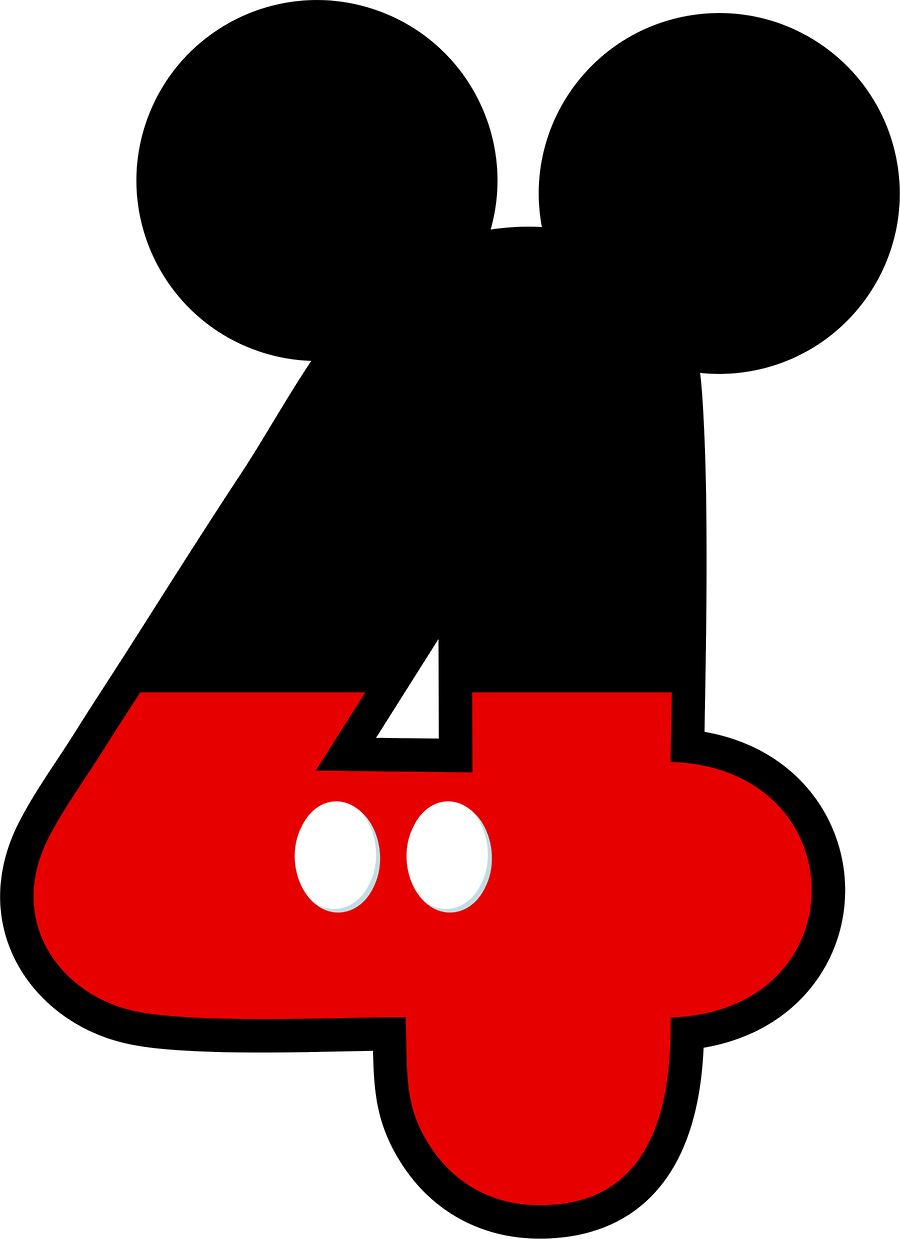 Mickey Mouse clipart number 4 Pinterest SGBlogosfera Números Numbers DE